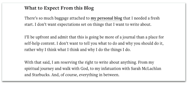 Example of the journal blog Unfiltered.me by Brian Gardner