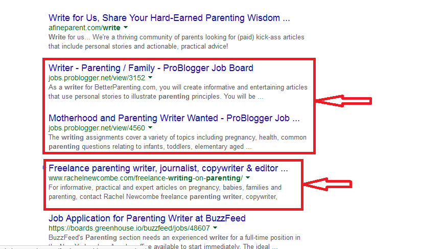 Google Parenting Example 2 -- Finding and Hiring Writers for Your Blog | LearnToBlog.com