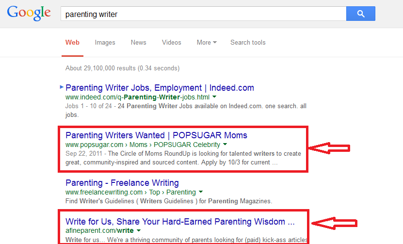 Google Parenting Example -- Finding and Hiring Writers for Your Blog | LearnToBlog.com