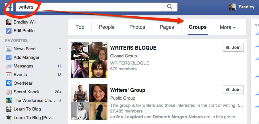 Facebook Groups Search -- Finding and Hiring Writers for Your Blog | LearnToBlog.com