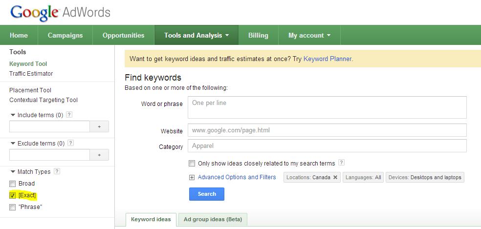 google-keyword-tool-exact-match