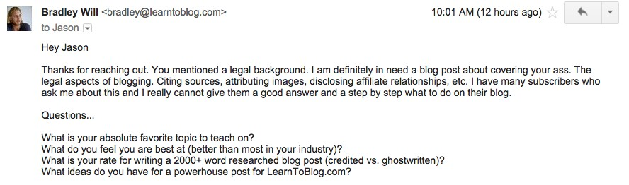 Email Example -- Finding and Hiring Writers for Your Blog | LearnToBlog.com