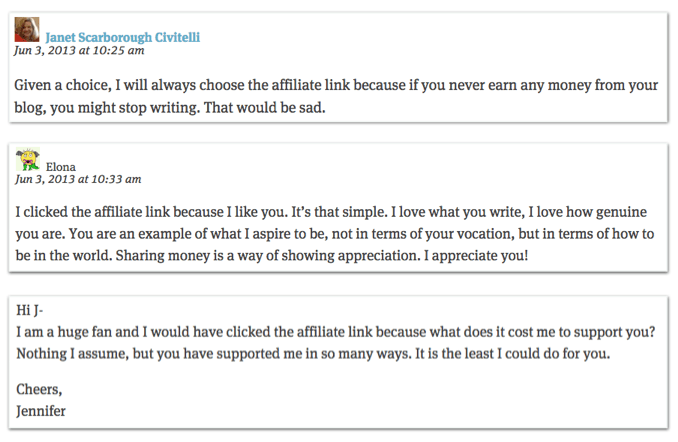 Comments From Jonathan Fields Affiliate Test Blog Post